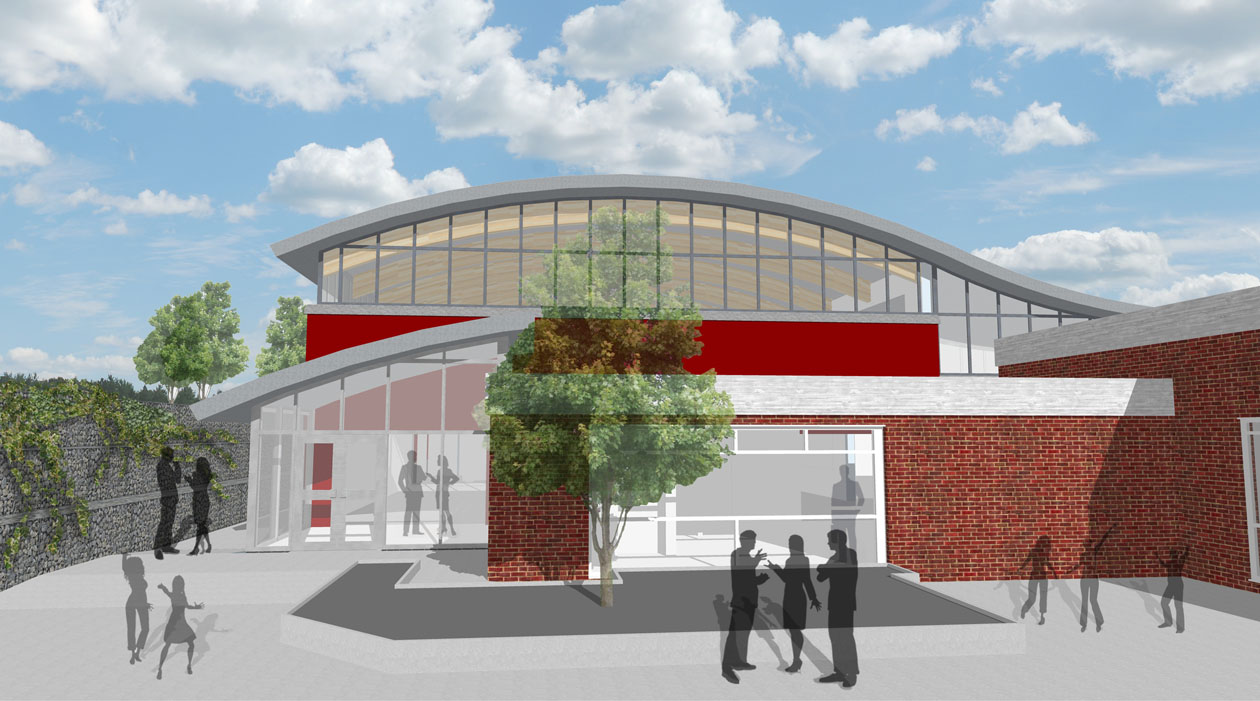 Front Elevation School : Townfield primary school new multi purpose sports hall wirral