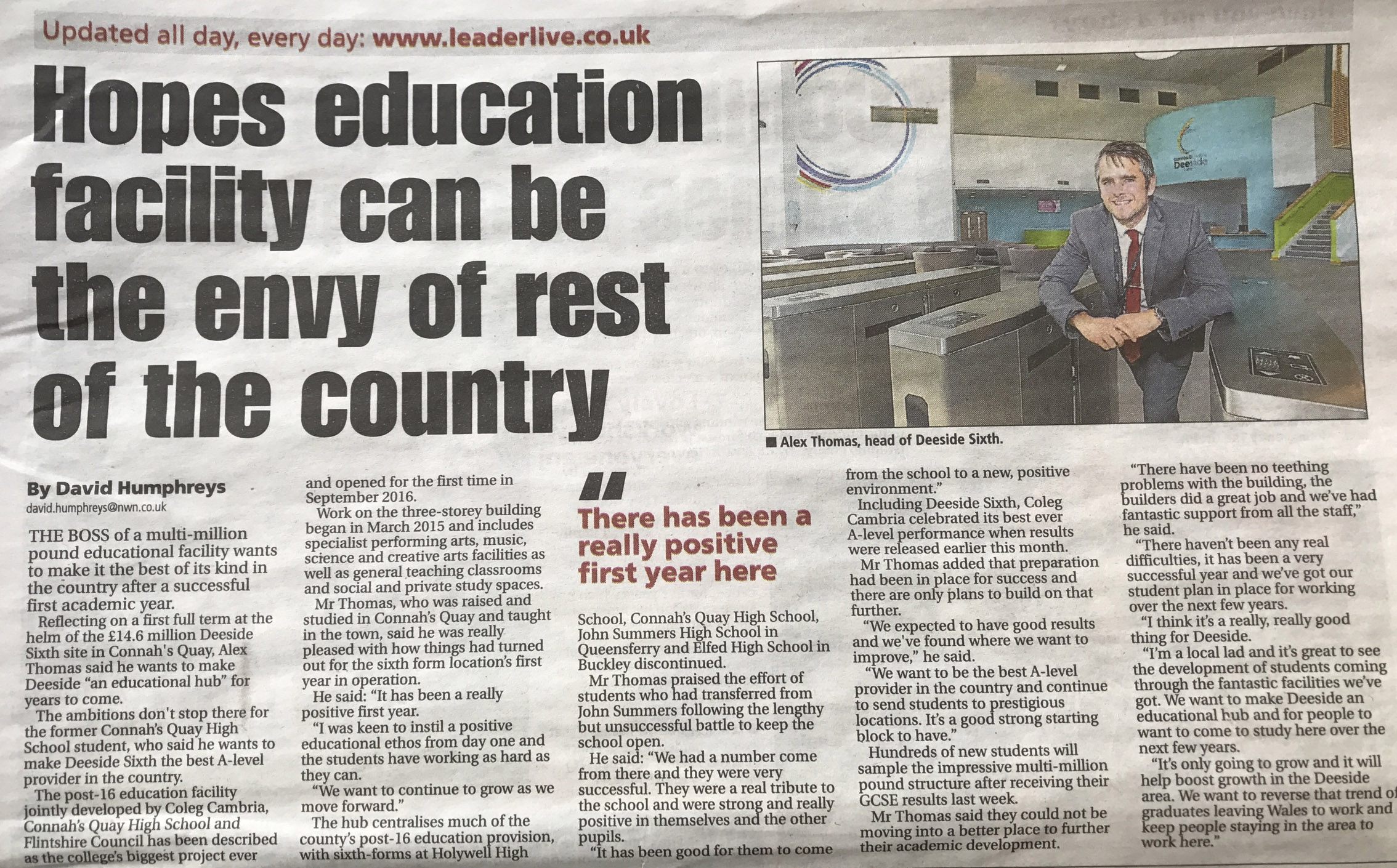 Deeside Sixth - Newspaper Article